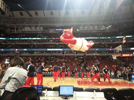Benny the Bull seeks out Utah Jazz fans for destruction...